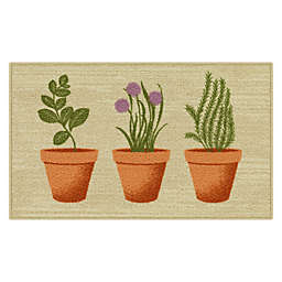 """Maples™ Spring Print Pots 20"""" x 34"""" Accent Rug in Beige"""