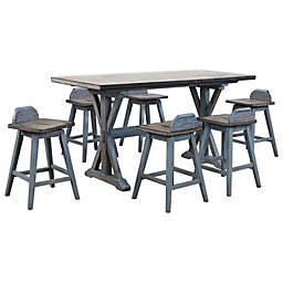 K&B Furniture Adirondack Wood 7-Piece Dining Set in Distressed Blue