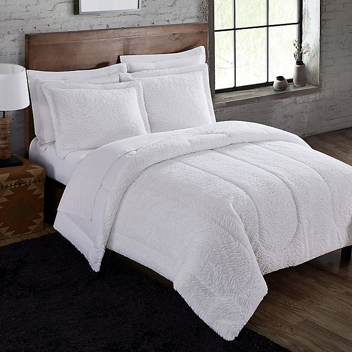 Alternate image 1 for Winter White Faux Fur 3-Piece Comforter Set