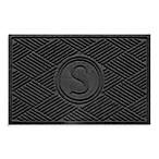 Weather Guard™  Diamonds Monogrammed  S 23-Inch x 35-Inch Door Mat in Charcoal