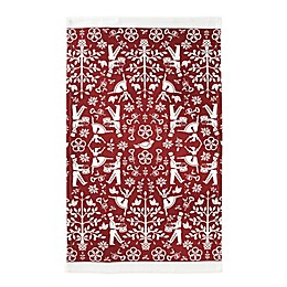 Christmas Carol Dish Towel in Red