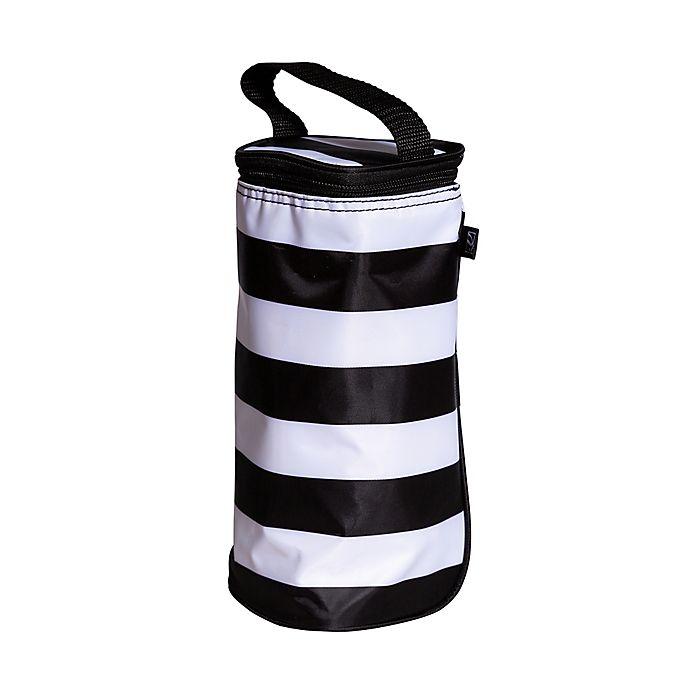 Alternate image 1 for J.L. Childress Striped Insulated Single Bottle Cooler in Black/White