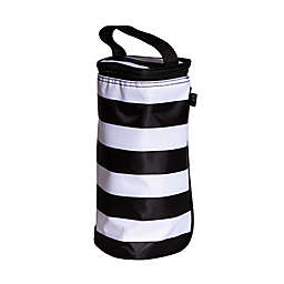 J.L. Childress Striped Insulated Single Bottle Cooler in Black/White