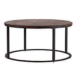 Southern Enterprises Landsmill 36-Inch Round Coffee Table in Natural/Black