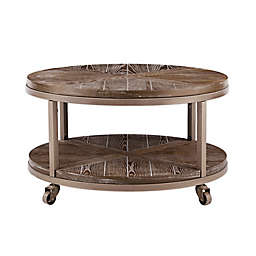 Southern Enterprises© Konya Round Wood Coffee Table in White-Limed Burnt Oak and Gray