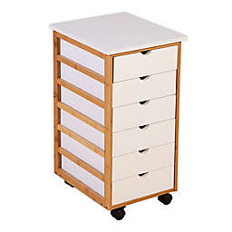 Solid Bamboo Frame 6-Drawer Rolling Cart