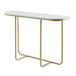 Forest Gate™ Modern Curved Console Table in White Marble/Gold