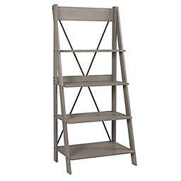 Forest Gate Farmhouse Solid Wood Ladder Bookshelf in Grey