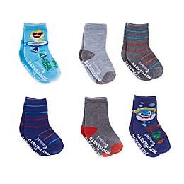 Baby Shark Size 2T-4T 6-Pack Surf Shark Crew Socks in Blue