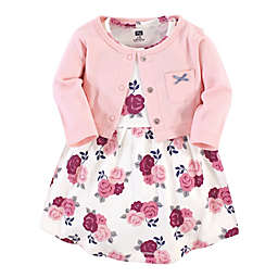 Hudson Baby® Size 18-24M 2-Piece Floral Dress and Cardigan Set in Burgundy