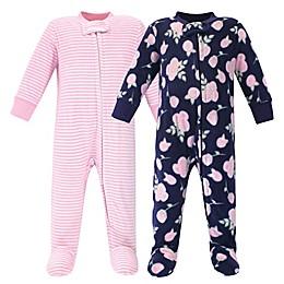 Hudson Baby® 2-Pack Rose Fleece Sleep N' Plays in Blue/Pink