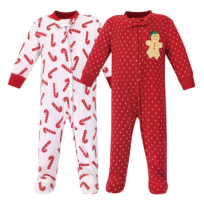 Alternate image 1 for Hudson Baby® 2-Pack Sugar and Spice Fleece Sleep N' Plays in Red