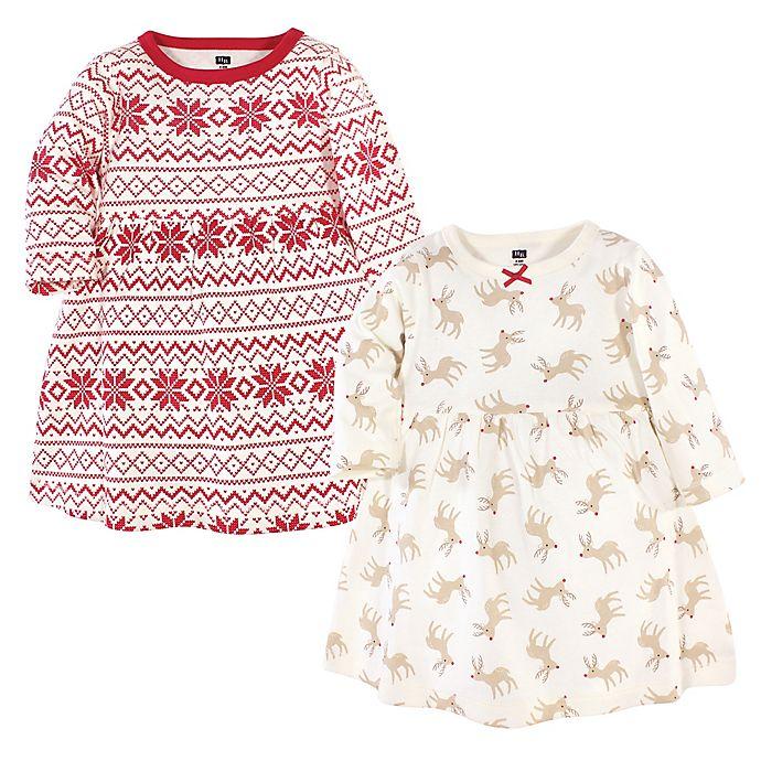 Alternate image 1 for Hudson Baby® 2-Pack Reindeer Long Sleeve Dresses in Red