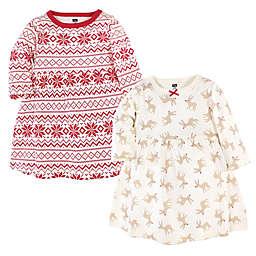 Hudson Baby® 2-Pack Reindeer Long Sleeve Dresses in Red