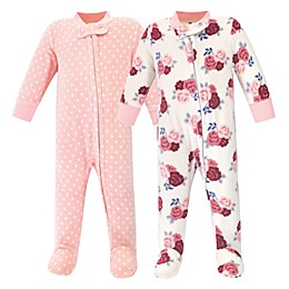 Hudson Baby® 2-Pack Floral Fleece Sleep N' Plays in Pink