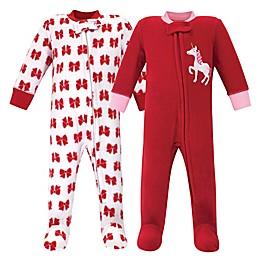 Hudson Baby® 2-Pack Christmas Unicorn Sleep N' Play Footies