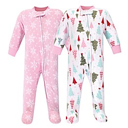 Hudson Baby® 2-Pack Sprinkle Fleece Sleep and Play Footies in Pink