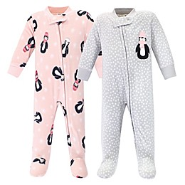Hudson Baby® 2-Pack Penguin Fleece Sleep and Play Footies in Pink