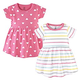 Hudson Baby® 2-Pack Candy Stripes Short Sleeve Dresses in Pink