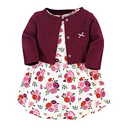 Hudson Baby® 2-Piece Fall Floral Dress and Cardigan Set in Burgundy