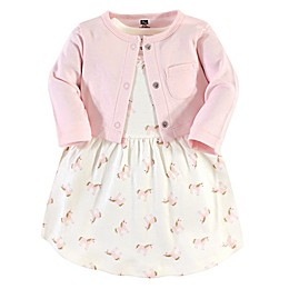 Hudson Baby® 2-Piece Gold Unicorn Dress and Cardigan Set in Pink
