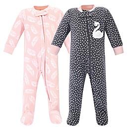 Hudson Baby® 2-Pack Swan Fleece Sleep N' Plays in Grey