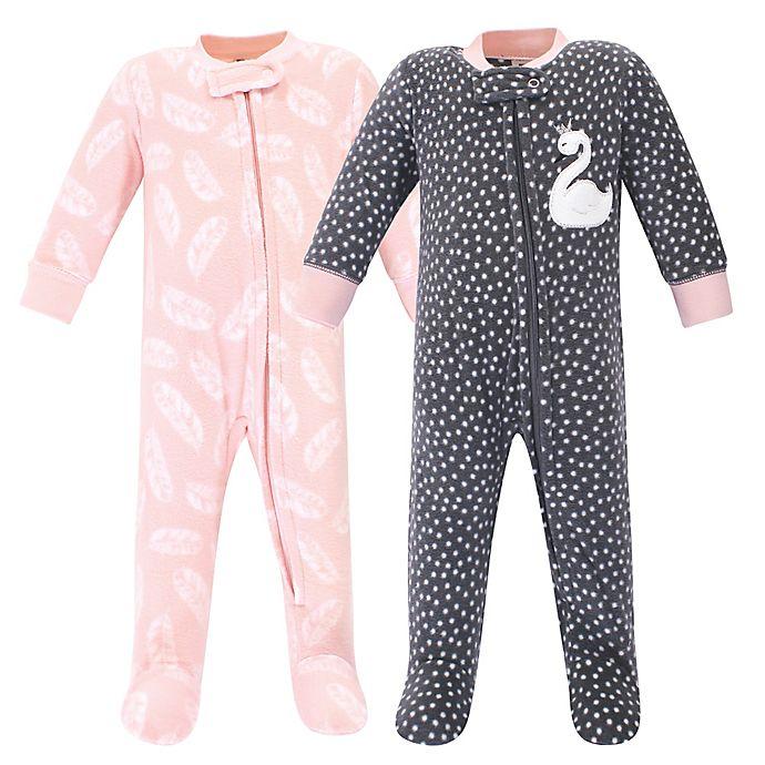 Alternate image 1 for Hudson Baby® 2-Pack Swan Fleece Sleep N' Plays in Grey