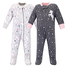 Hudson Baby® 2-Pack Whimsical Unicorn Fleece Sleep N' Plays in Grey