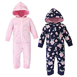 Hudson Baby® Size 0-3M 2-Pack Rose Hooded Fleece Union Suits in Navy