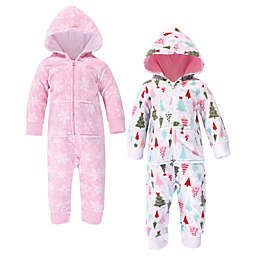 Hudson Baby® 2-Pack Sparkle Trees Hooded Union Suits