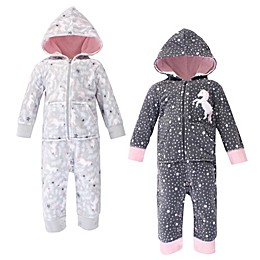 Hudson Baby® 2-Pack Whimsical Unicorn Hooded Fleece Union Suits in Grey