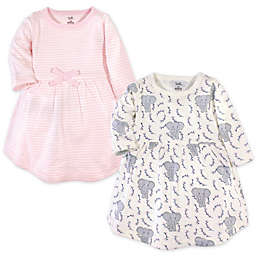 Touched by Nature 2-Pack Stripes and Elephants Organic Cotton Dresses in Pink