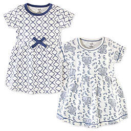 Touched by Nature Size 24M 2-Pack Elephants and Quatrefoils Organic Cotton Dresses in Blue