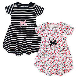 Touched by Nature 2-Pack Ditsy Floral and Stripes Organic Cotton Dresses in Black