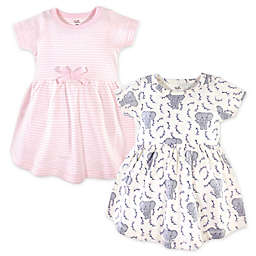 Touched by Nature 2-Pack Elephants and Stripes Organic Cotton Dresses in Pink