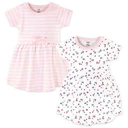 Touched by Nature 2-Pack Tiny Flowers and Stripes Organic Cotton Dresses in White