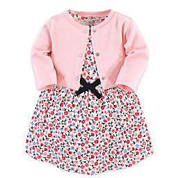 Touched by Nature 2-Piece Ditsy Organic Cotton Dress and Cardigan Set in Pink