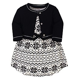 Touched by Nature 2-Piece Fair Isle Organic Cotton Dress and Cardigan Set in Black