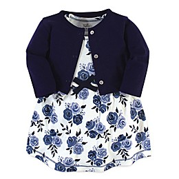 Touched by Nature 2-Piece Floral Organic Cotton Dress and Cardigan Set in Blue