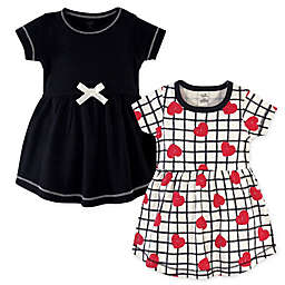 Touched by Nature Size 18-24M 2-Pack Hearts Organic Cotton Dresses in Black