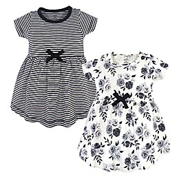 Touched by Nature 2-Piece Floral Organic Cotton Dress and Cardigan Set in Black