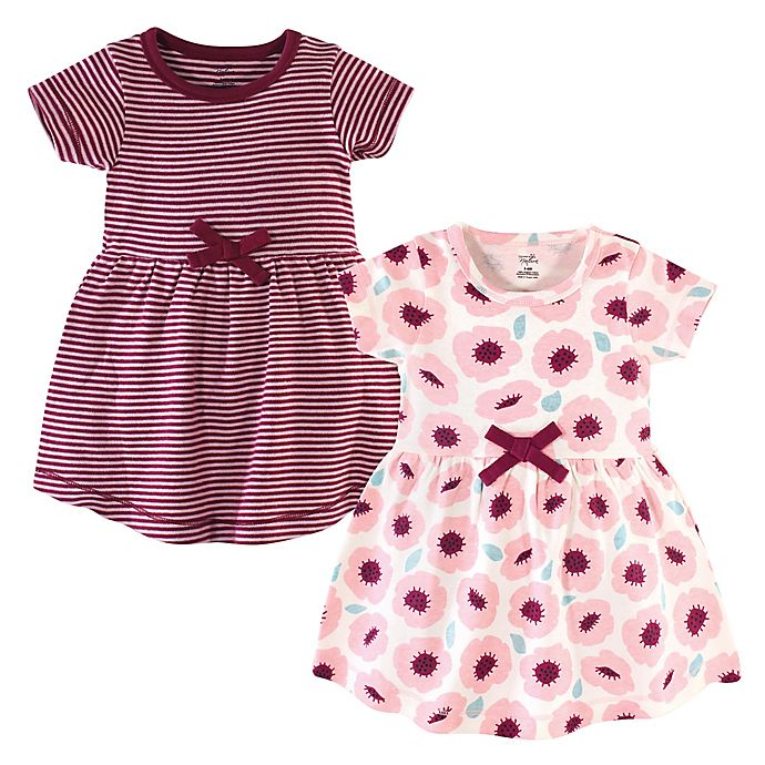 Alternate image 1 for Touched by Nature 2-Pack Blush Blossom Organic Cotton Dresses in Burgundy