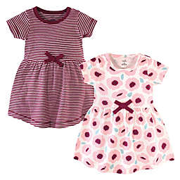 Touched by Nature Size 2T 2-Pack Blush Blossom Organic Cotton Dresses in Burgundy