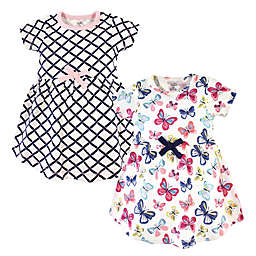 Touched by Nature Size 18-24M 2-Pack Bright Butterflies and Crisscross Organic Cotton Dresses