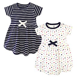 Touched by Nature 2-Pack Colorful Dots and Stripes Organic Cotton Dresses in Blue