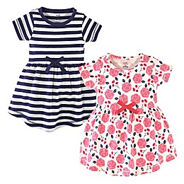 Touched by Nature 2-Pack Coral Roses and Stripes Organic Cotton Dresses
