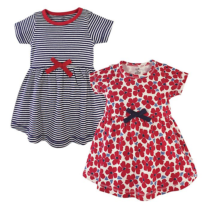 Alternate image 1 for Touched by Nature 2-Pack Flowers Organic Cotton Dresses in Red