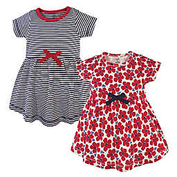 Touched by Nature Size 2T 2-Pack Flowers Organic Cotton Dresses in Red
