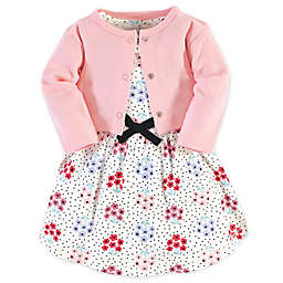Touched by Nature Floral Dot Organic Cotton Dress and Cardigan Set in Blue