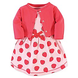 Touched by Nature 2-Piece Strawberries Organic Cotton Dress and Cardigan Set in Red